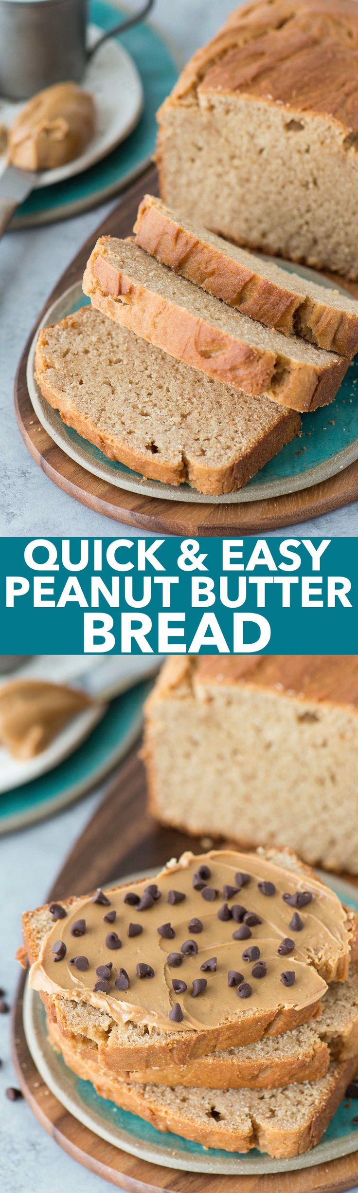 1 hour Peanut Butter Quick Bread! Easy to make and delicious with chocolate chips too!