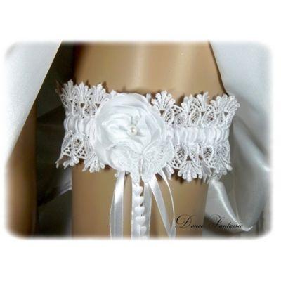 Jarretière de mariée papillon blanc