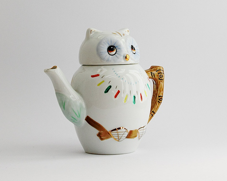 {little vintage owl teapot} oh my goodness, I want this!