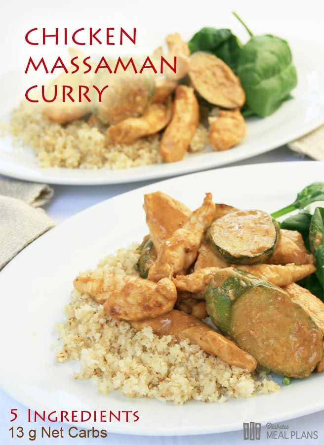 Diabetic Low Carb Meal: Chicken Massaman Curry - just 5 ingredients!