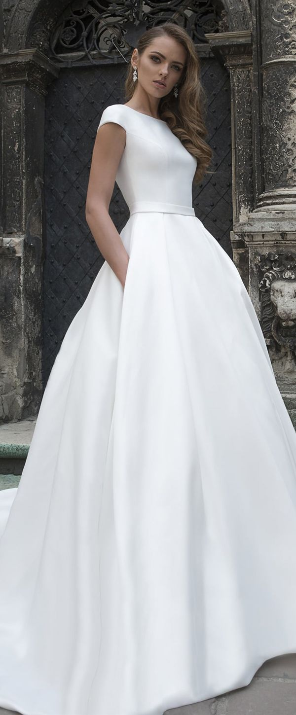 Wonderful Satin Bateau Neckline A-line Wedding Dress With Beaded Lace Appliques