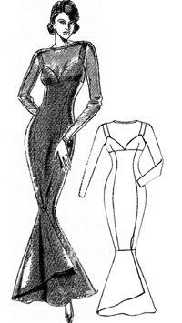 Выкройка вечернего платья с силуэтом «Русалка»