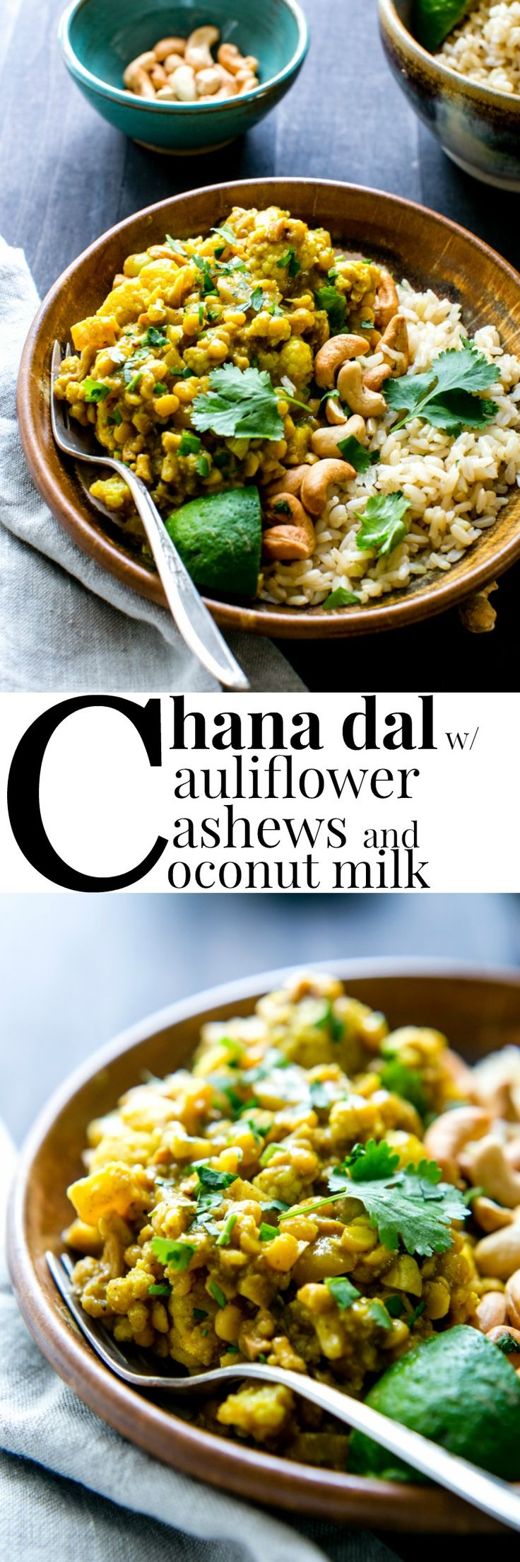 Dahl met bloemkool, cashewnoten en kokosmelk.