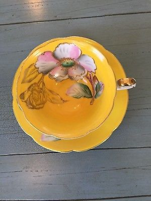 Trimont Tea Cup and Saucer Made In Occupied Japan Bright Yellow Floral Footed