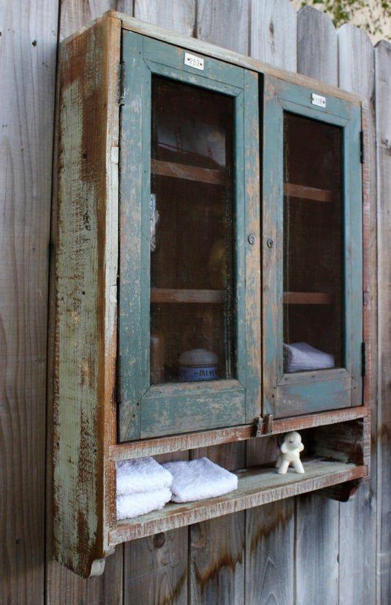 Bathroom Cabinet Wall Unit Medicine Storage Reclaimed Rustic Wood Rustic Wall Shelves Rustic Furniture Primitive Furniture