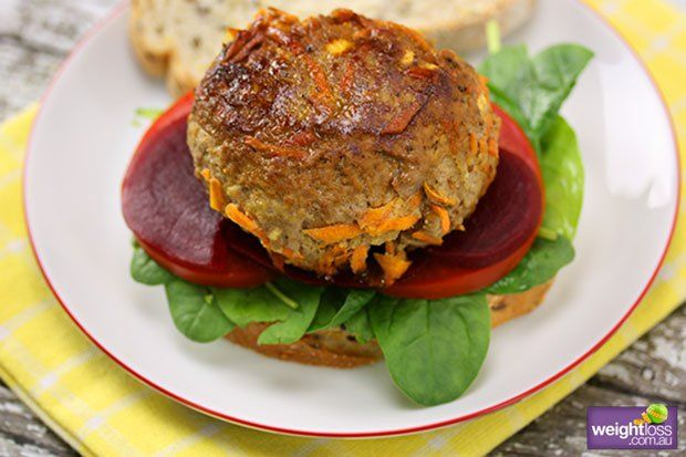 Healthy Lunch Recipes: Lamb Burger. #HealthyRecipes #DietRecipes #WeightLoss #WeightlossRecipes weightloss.com.au
