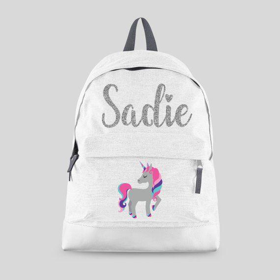 Personalised School Bag CUTE UNICORN PUG Girls Shiny Silver Holographic Backpack Gift KS144