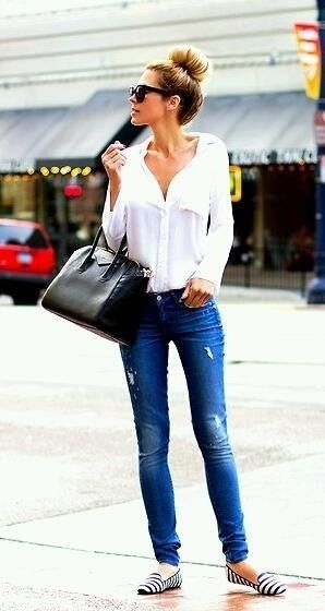 Stylish outfits white sleeve shirt, blue jeans and striped flats shoes. Casual