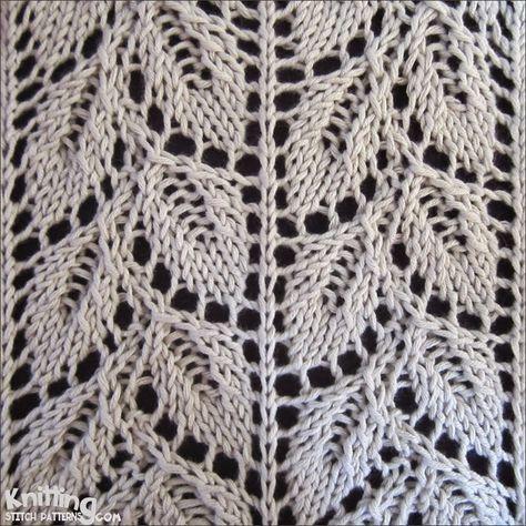 Drooping Elm Leaf stitch   |  knittingstitchpatterns.com