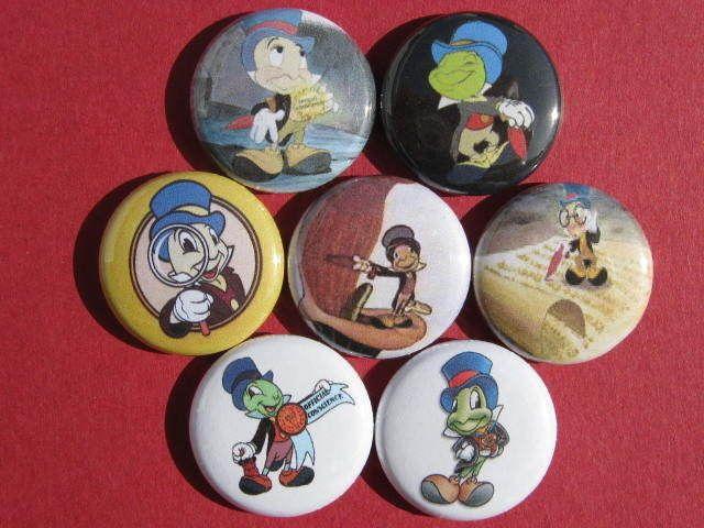 JIMINY CRICKET  CARTOON COMIC Set of 7 SELECT SIZE  New Pinback Buttons Badges #wtnabrand