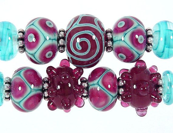 Raspberry and Turquoise Lampwork Bead Set   by SharplineDesigns, $33.00