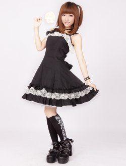 coton dentelle noire arc classique en coton lolita robe