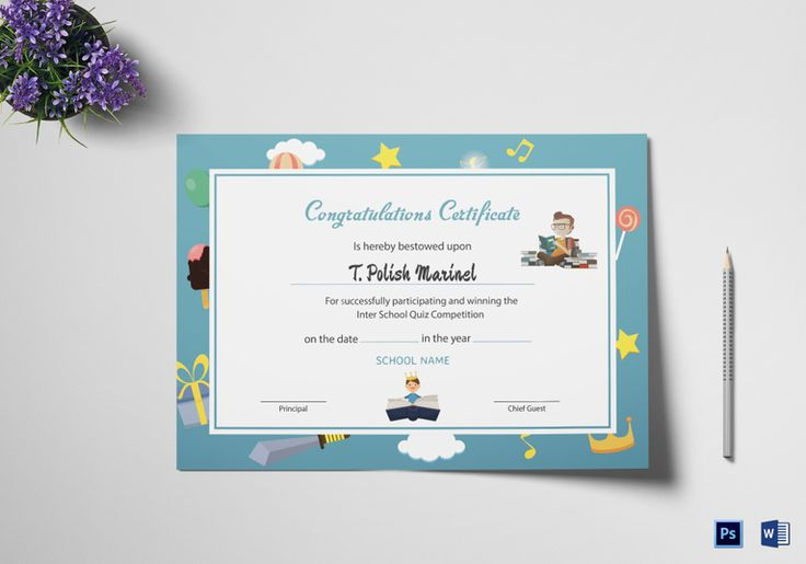 Reading Award Congratulations Certificate Template  $12  Formats Included : MS Word, Photoshop   File Size : 8.26x11.69 Inchs  #Certificates #Certificatedesigns #AwardCertificates