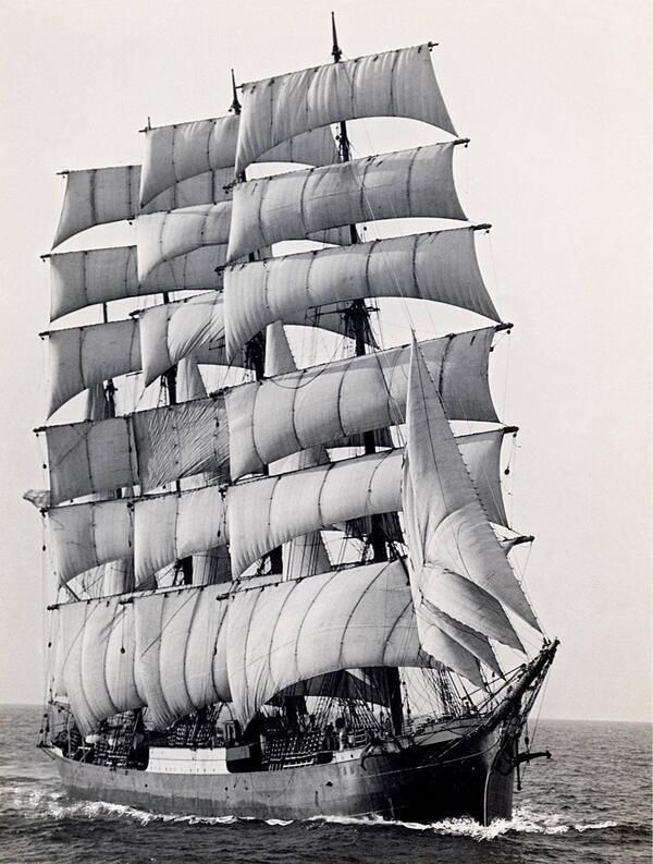 The last commercial sailing ship, Pamir, to round Cape Horn in 1949.