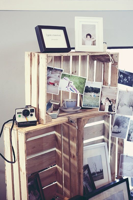 Wooden crates and washing line - for msgs we have pinned for each other, photos, memorabilia etc.