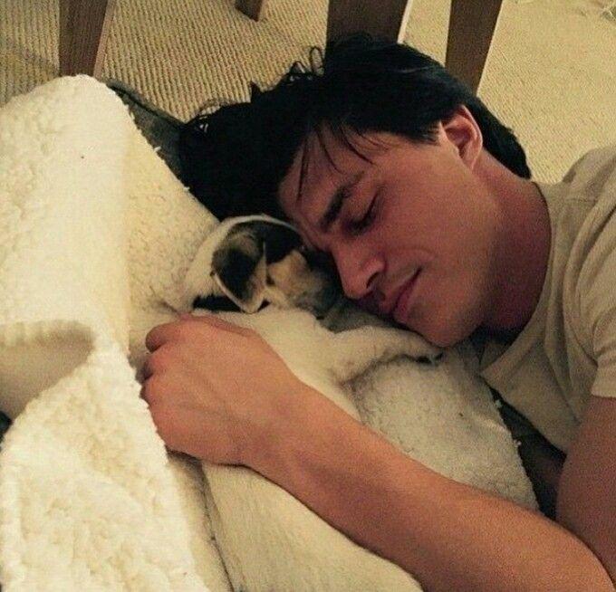 "Finn + Puppy + Snuggles = Collective ""AWWW"". Finn Wittrock and Zeke via Instagram"