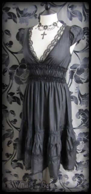 Romantic Goth Black Silk & Lace Ruffle Gypsy Dress 8 Gothic Victorian Vintage | THE WILTED ROSE GARDEN on eBay // Worldwide Shipping Available