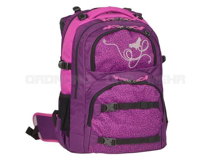 Take it Easy MARLENE - Schulrucksack OSLO FLEX Schulranzen DER NEUE - lila violet m. Strass