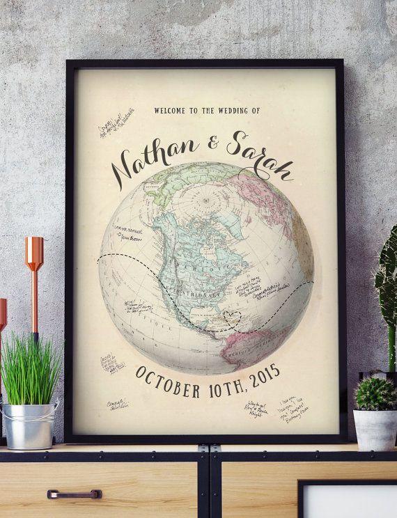Wedding Globe Guest Book Alternative with Vintage by MDBWeddings