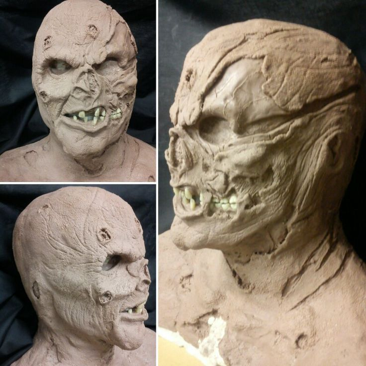 """Jason from """"Friday the 13th part 7"""". Monster clay sculpted bust."""