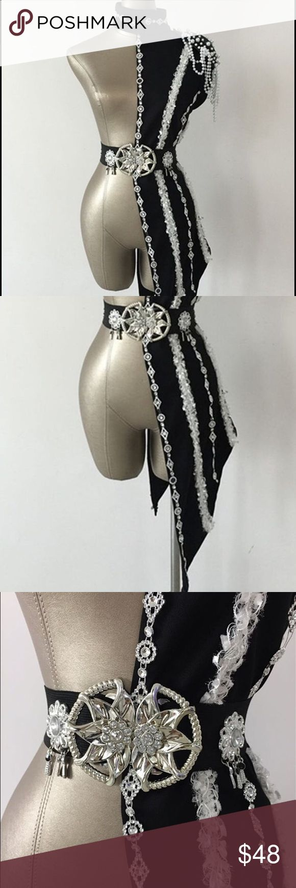 Rhinestone Lace Drum Major Dance Costume Sexy one side costume features lace and rhinestone. Pair with studded bra and hot shorts! Dresses Mini