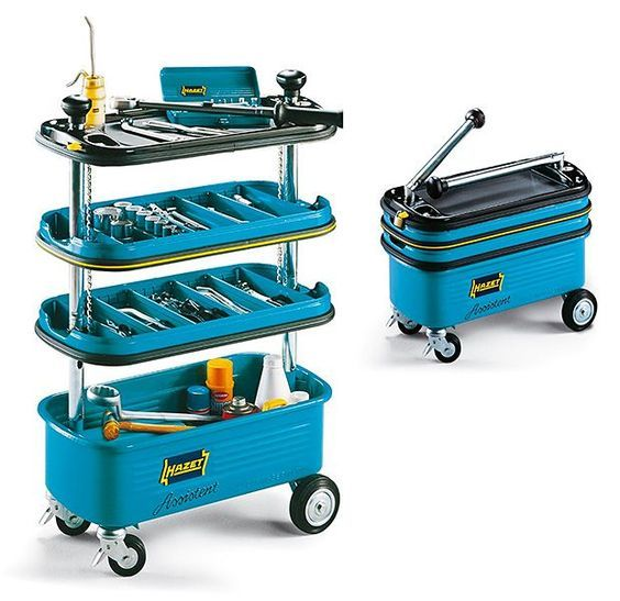 Now here's an invention (or a technological concoction, if you prefer) that will raise the eyebrows of every garage guy in North America. The collapsible tool trolley from Hazet is.