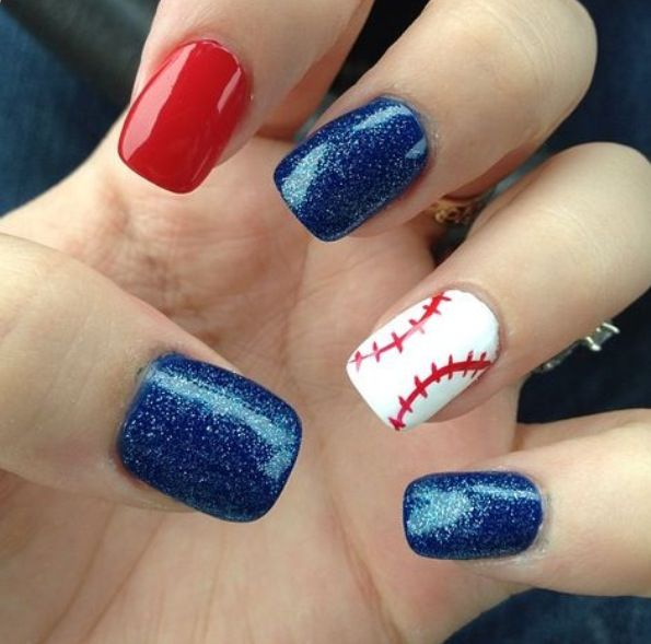 Baseball nails for the Red Sox! ⚾❤ Saw these at the last game I went to- too cute!