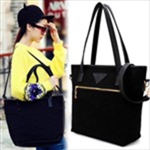 Black Canvas & PU Leather Bag Sling Bag Shoulder Bag Handbag Satchel with Shoulder Strap for Ladies Women $31.99