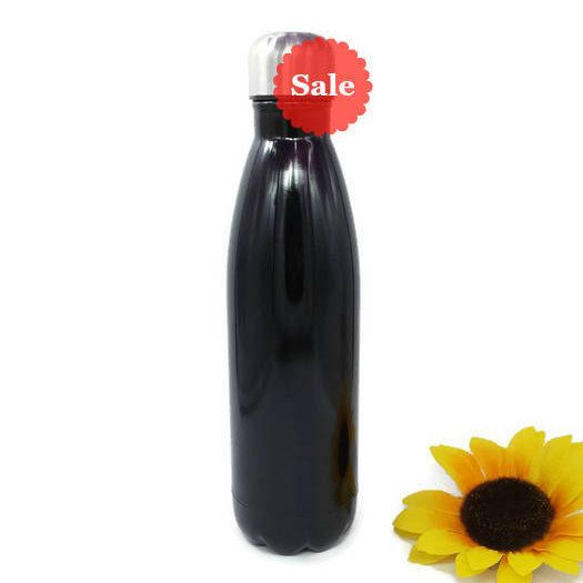 Black Stainless Steel Water Bottle Ready To Be Customized With Your Name or Monogram