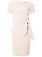 Womens Petite Blush Asymmetric Belted Shift Dress- Pink