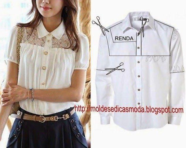 25cc2167d73 Переделки  Оригинальные блузки из рубашек