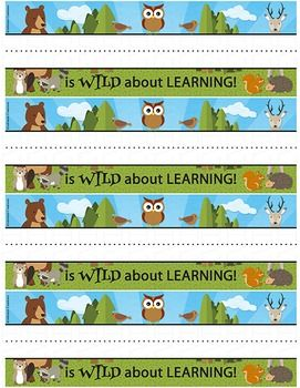 Your students will love these cute forest animals desk name tags There are 4 tags on each sheet. Add names by hand or on your computer (directions included).