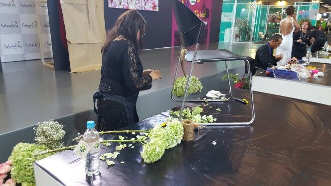 Competitors of @florintdotorg  #FloralDesign America Cup 2015 refresh themselves while working on the last day of the contest!