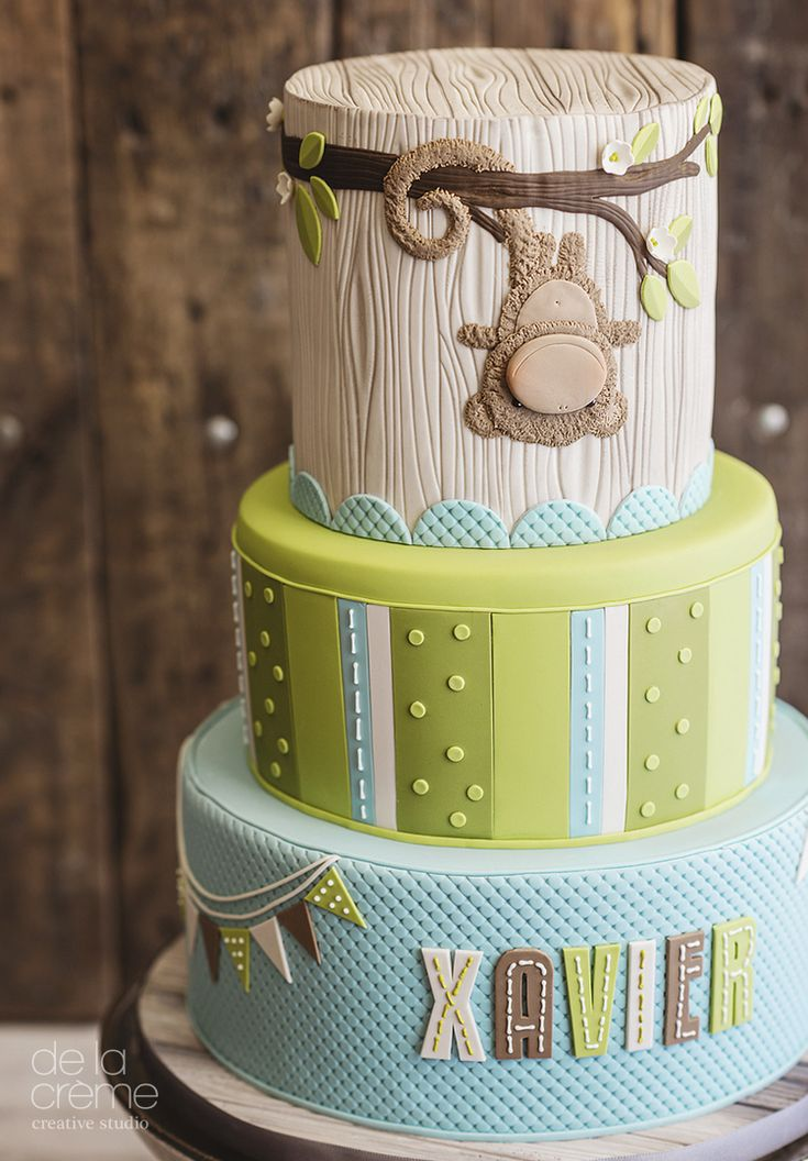 monkey_shower.jpg That top cake would be perfect for the bottom layer of kenzi's cake!!! we can just add some purple into it :) what do you think? :D