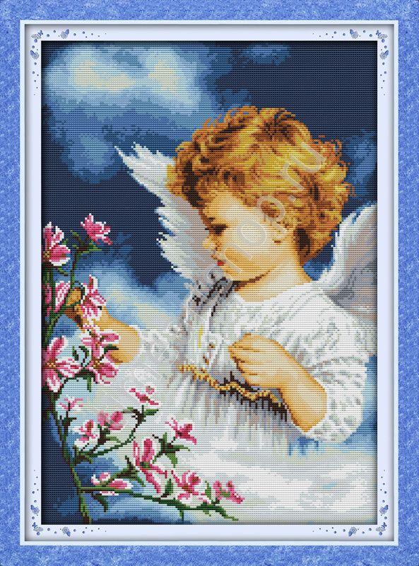 Весенний ангел, вышивка крестом полная.