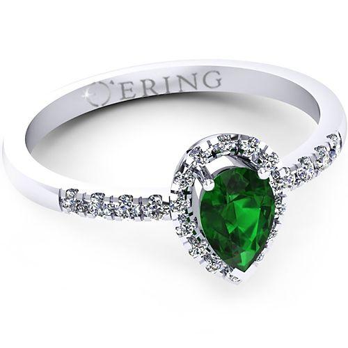 Inel logodna L71ASM inel cu diamante si smarald