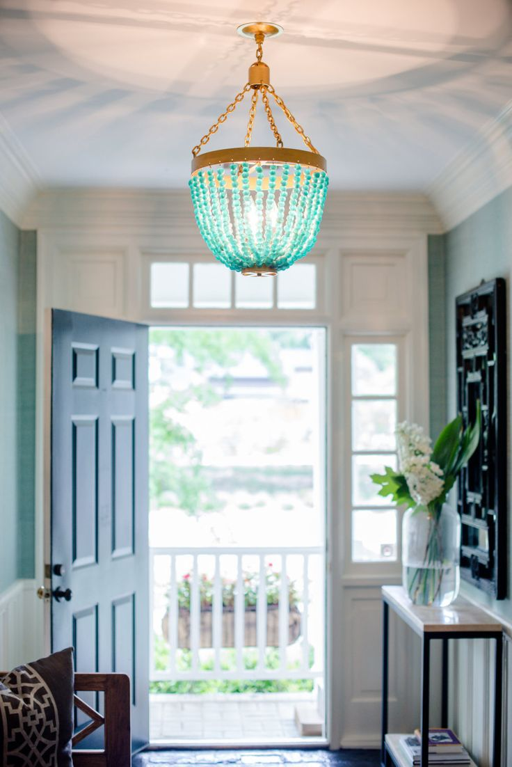 Recycled Glass Turquoise Chandelier by elizabethlighting
