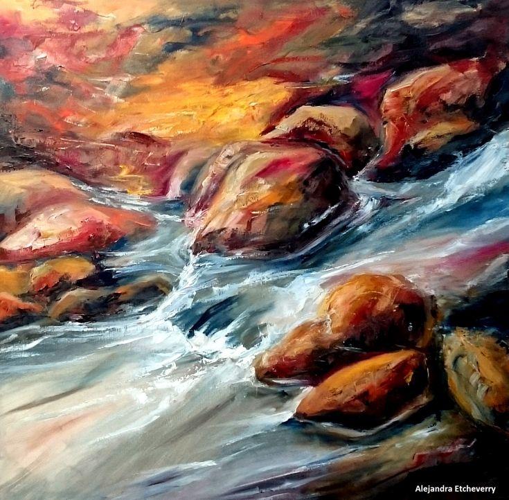 Título: Piedras del río - Óleo espatulado sobre tela (80cmx80cm) - Cuadro presentado en el Encuentro De Pintores Río Ceballos - Argentina - Autora: Alejandra Etcheverry