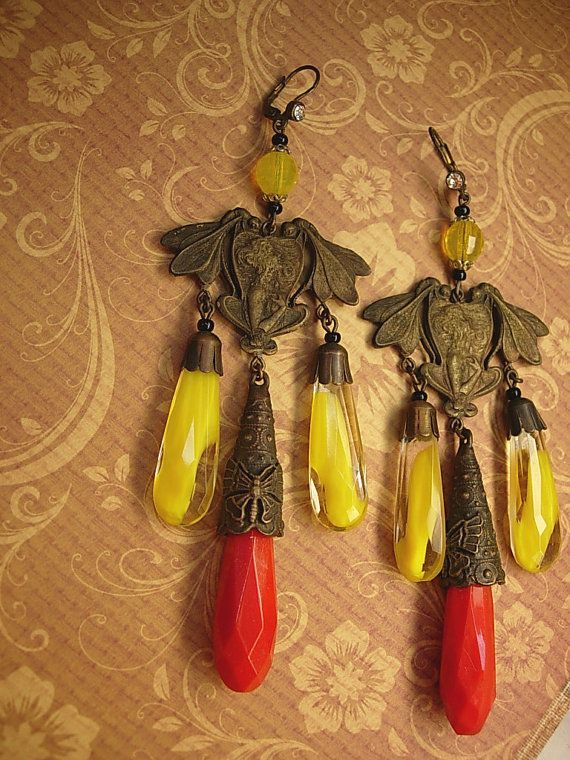 Vintage Czech Earrings DRAMATIC Glass by vintagesparkles on Etsy, $175.00