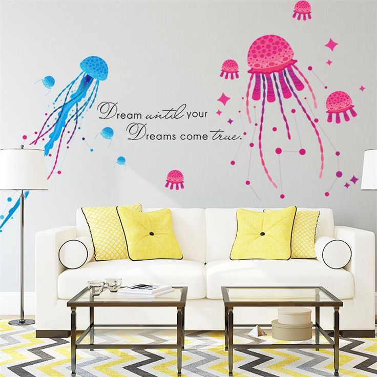 Jellyfish Eco-friendly Removable Vinyl Decal Nursery Kids Baby Room Bathroom Decor Mural Waterproof Self Adhesive Wall Stickers