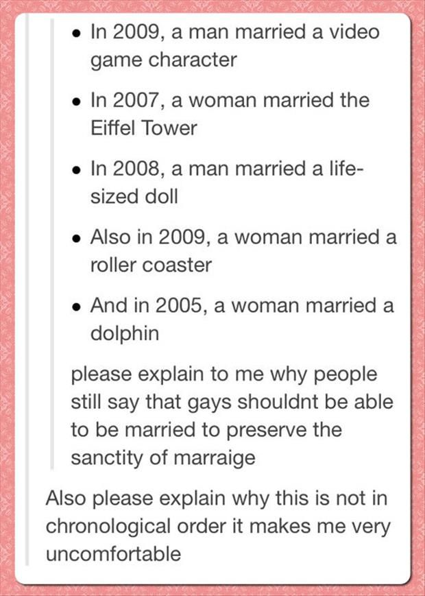 an argument in the sanctity of marriage The most destructive thing to the sanctity of marriage is marraige itself without a doubt anyone who doesn't think so has obviously never been.