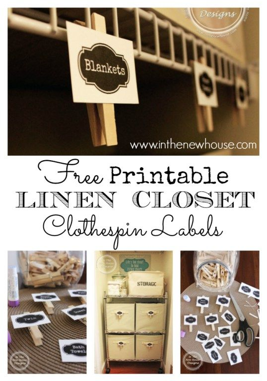 These labels print beautifully and can be attached to clothespins for an adorable way to organize a linen or laundry closet