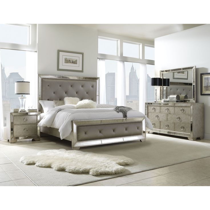 Enhance your home decor with this elegant Celine 5-piece mirrored and upholstered tufted king-size bedroom set. This set features mirrored panels and includes a king-size bed, two nightstands, one dresser and one mirror.