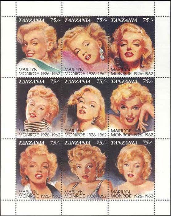 В 1992 году почтовая служба Танзании выпустила 30-летию памяти голливудской актрисы Мэрилин Монро