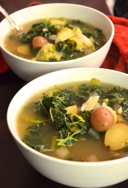 Kale, Brussel Sprout and Potato Soup