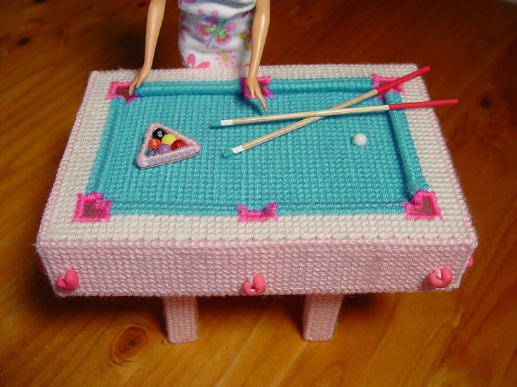 Canvas Craft Ideas For Kids Part - 30: Fashion Doll Plastic Canvas Pool Table With Cue Sticks For Barbie. $39.95,  Via Etsy