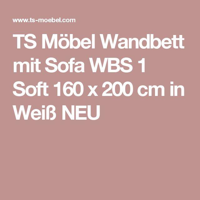TS Möbel Wandbett mit Sofa WBS 1 Soft 160 x 200 cm in Weiß NEU