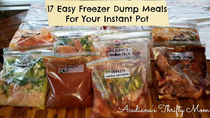 17 Easy Freezer Dump Meals For Your Instant Pot If you're like me, you find yourself scrambling around at 2 p.m. looking for something to put together for dinner. Many times we just end up e…