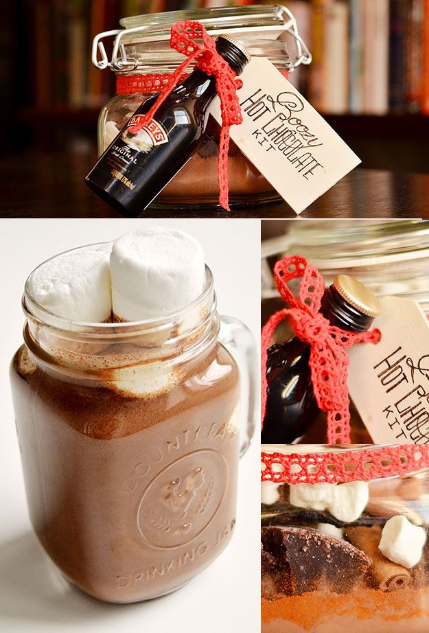 Boozy Hot Chocolate Kit | 24 Delicious DIY Food Gifts In Jars