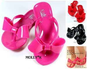 Girls Kids Summer Jelly Ribbon Bow Flip Flop Flat Sandals Shoes ...